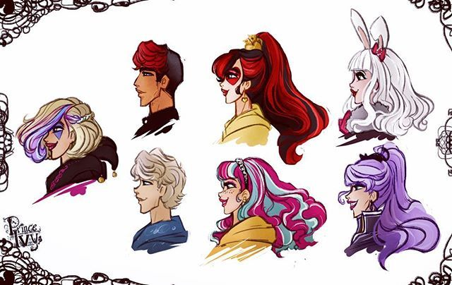 something little, just for fun - have to practice drawing profiles and giving my #topsyturvywonderland squad their own individual heads and face features #art#doodle#sketch#illustration#princeivy#madelinehatter #courtlyjester #kittycheshire #chaseredford #alistairwonderland#bunnyblanc #everafterhigh