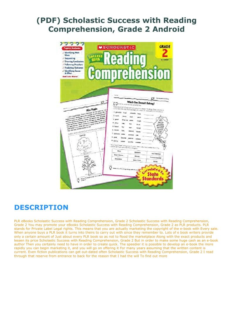 Pdf Scholastic Success With Reading Comprehension Grade 2 Android In 2021 Reading Comprehension Scholastic Comprehension [ 1123 x 793 Pixel ]