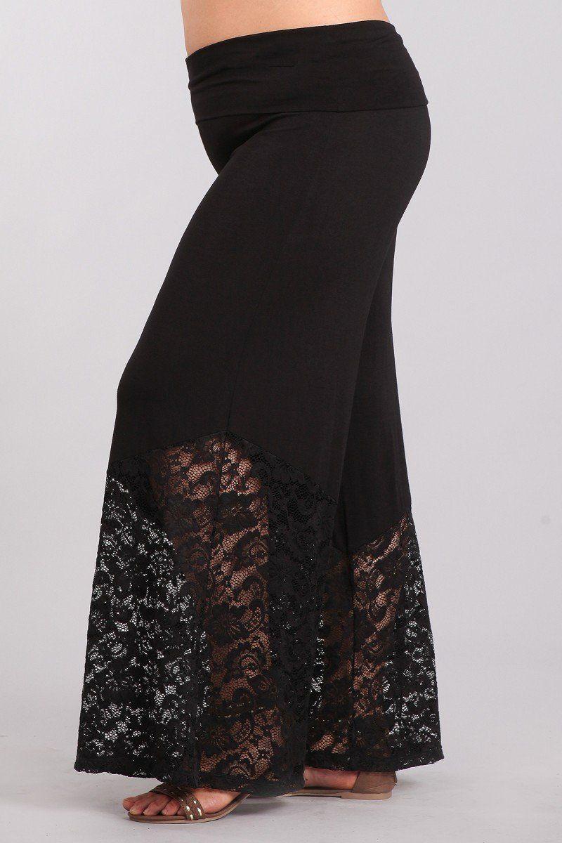 be7402742e903 Plus Size Black Lace Hem Palazzo Pants