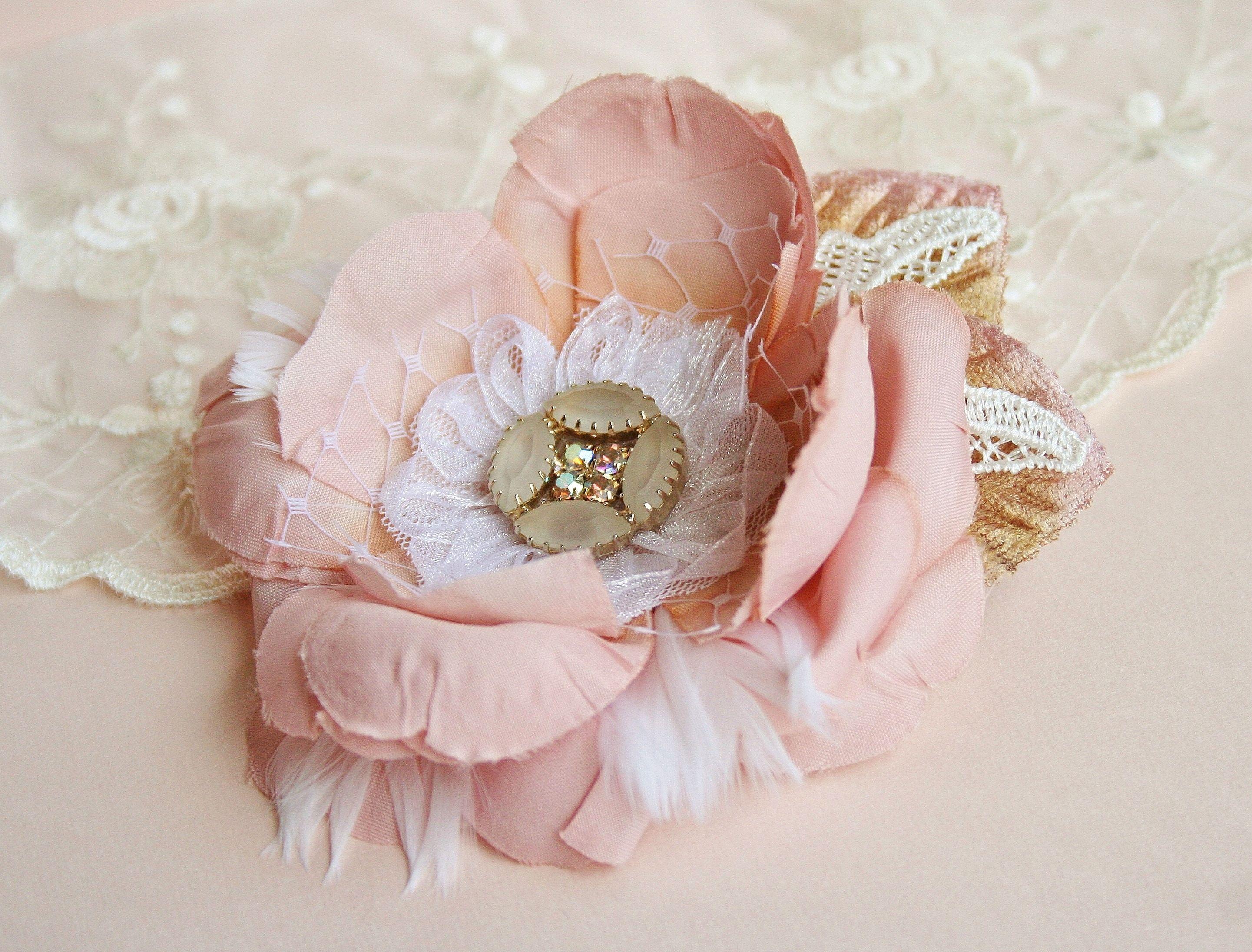Fancie Strands Pink Flower Feather Bridal Headpiece Hairpiece