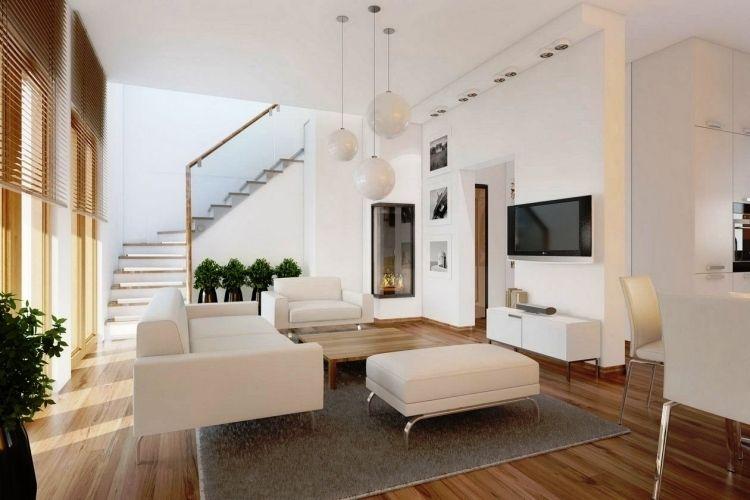 Feng Shui Wohnzimmer  Einrichten Weiss Holzboden Haengeleuchte Kugel Treppe Fernseher
