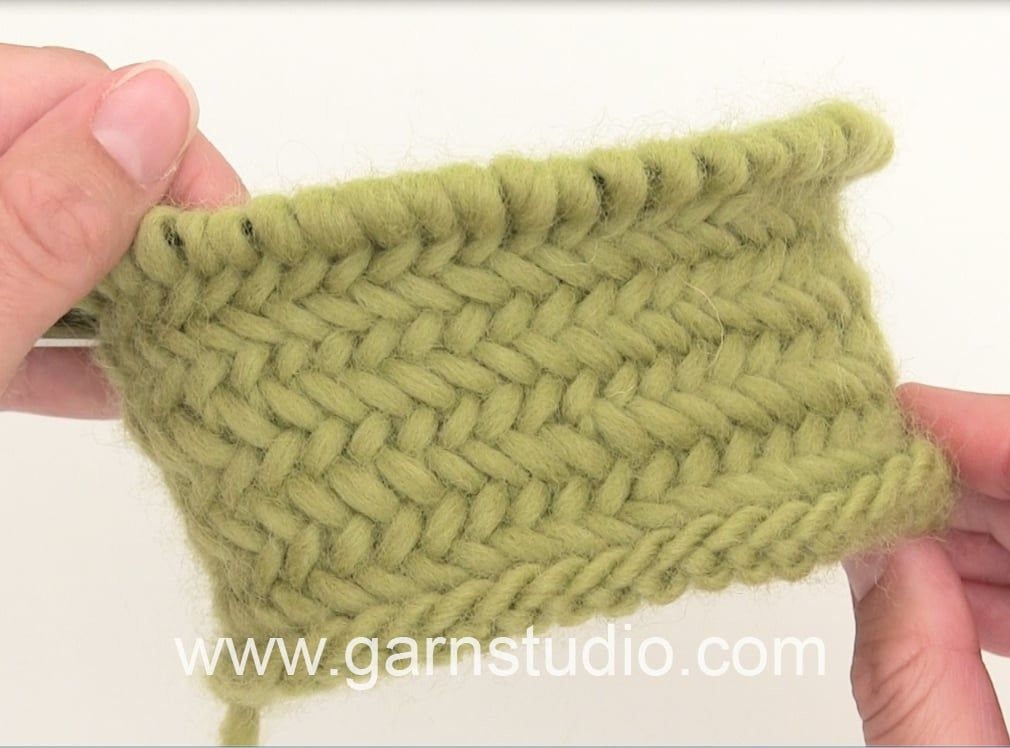 DROPS Knitting Tutorial: How to work Herringbone stitch in the round ...