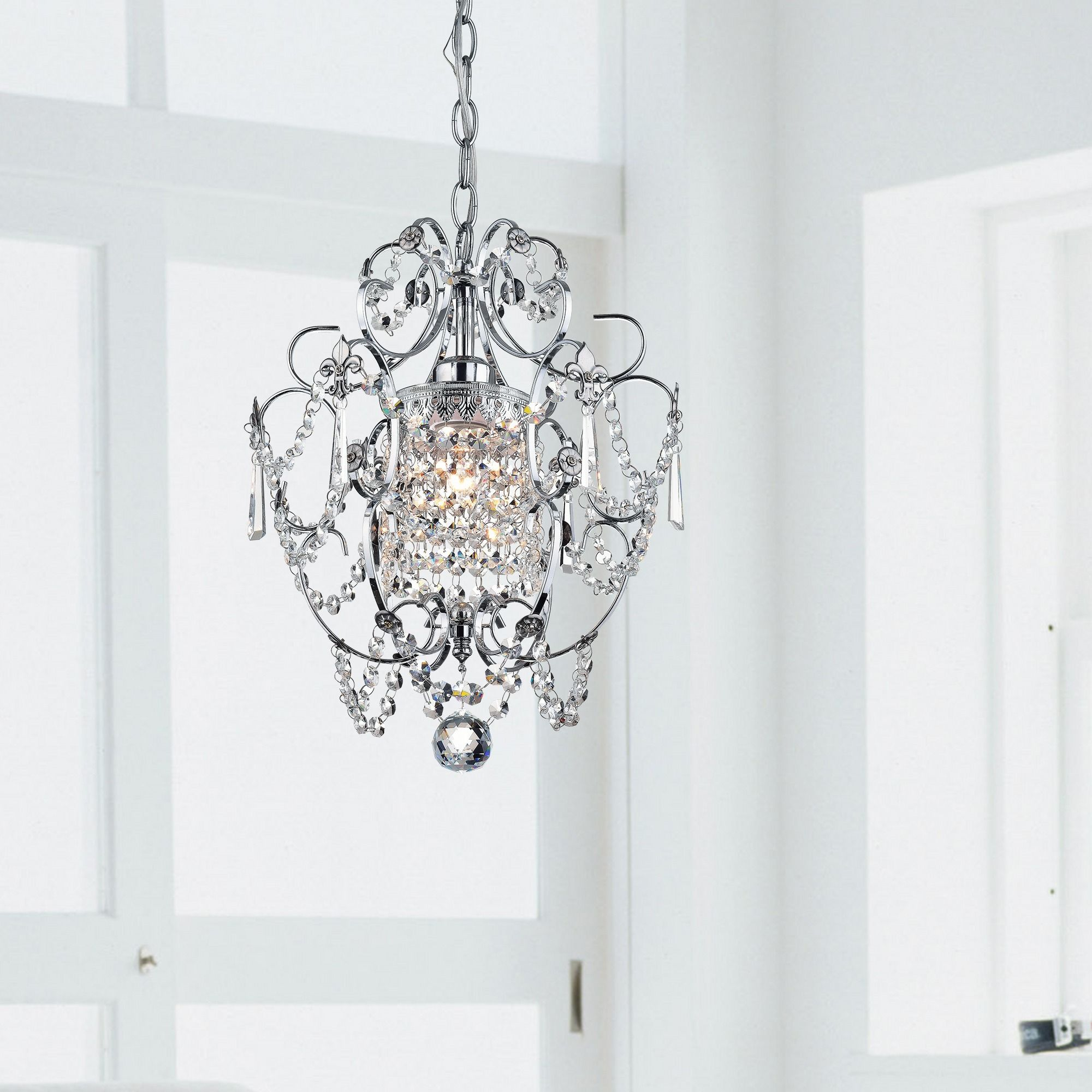 Add elegance to your dining room with this sophisticated chrome add elegance to your dining room with this sophisticated chrome crystal chandelier the light sparkles aloadofball Choice Image