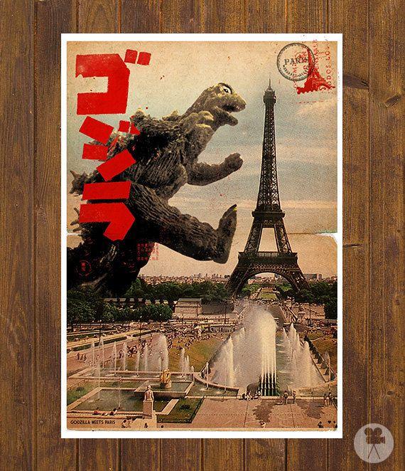 Godzilla meets Paris - Vintage Style Magazine Retro Print Cinema Studio postcard background - A3 11.7 x 16.5 in