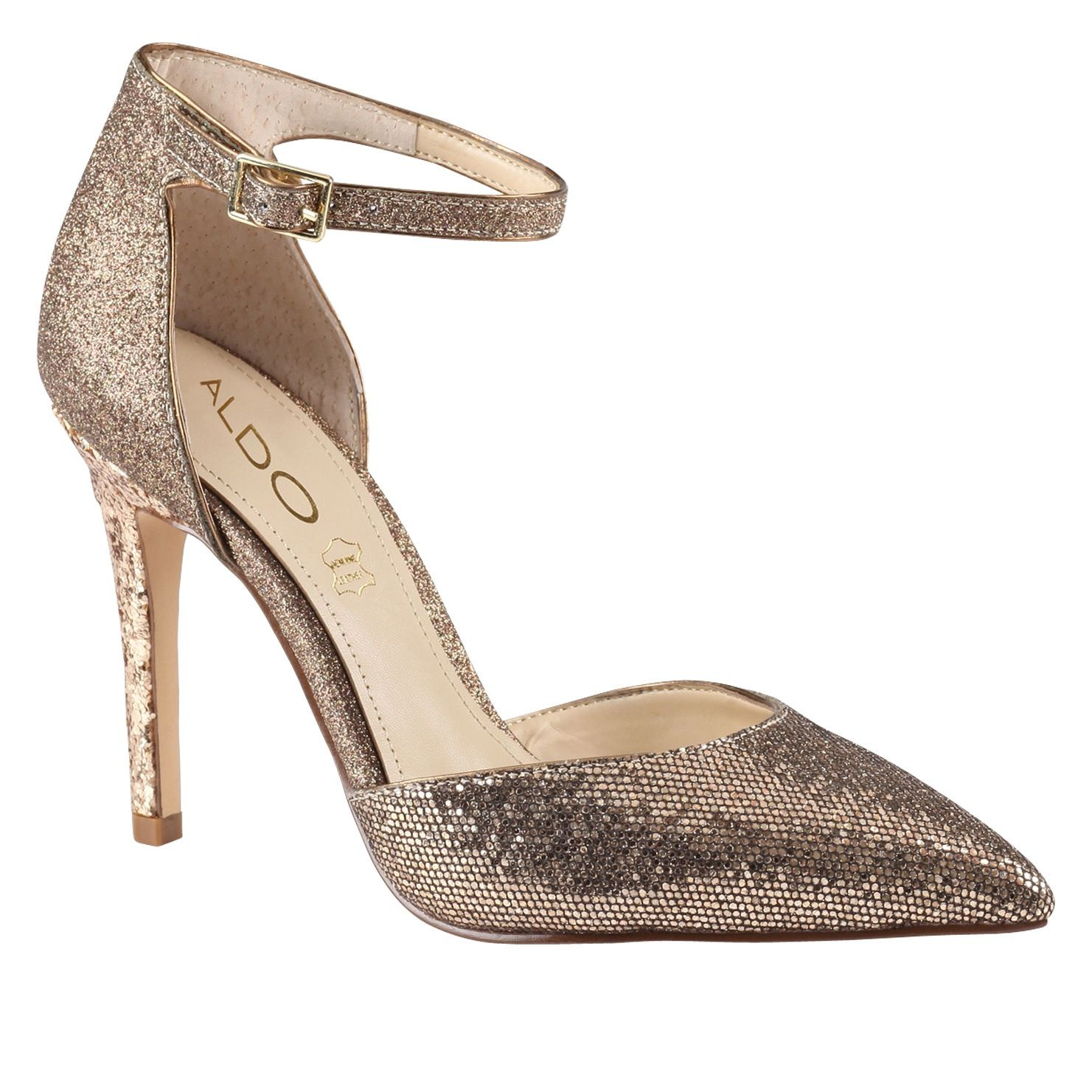 Aldo gold ankle strap heel | All That Glitters | Pinterest | Ankle ...
