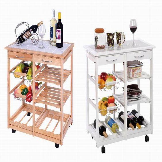 Servicio carro de cocina de madera mesa auxiliar natural/blanco 4 ...