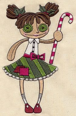 A candy cane makes Christmas extra sweet for this mischievous button-eyed doll.
