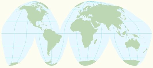 Goode Homolosine Map map projections 532 X 238 Pixels ...