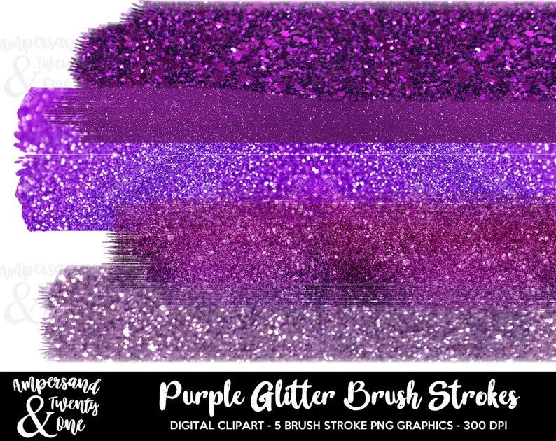 Purple Glitter Brush Strokes Digital Instant Download Clipart Elements Confetti Chunky Sparkly Sparkles Sparkle Commercial Personall Purple Glitter Brush Strokes Digital Clip Art