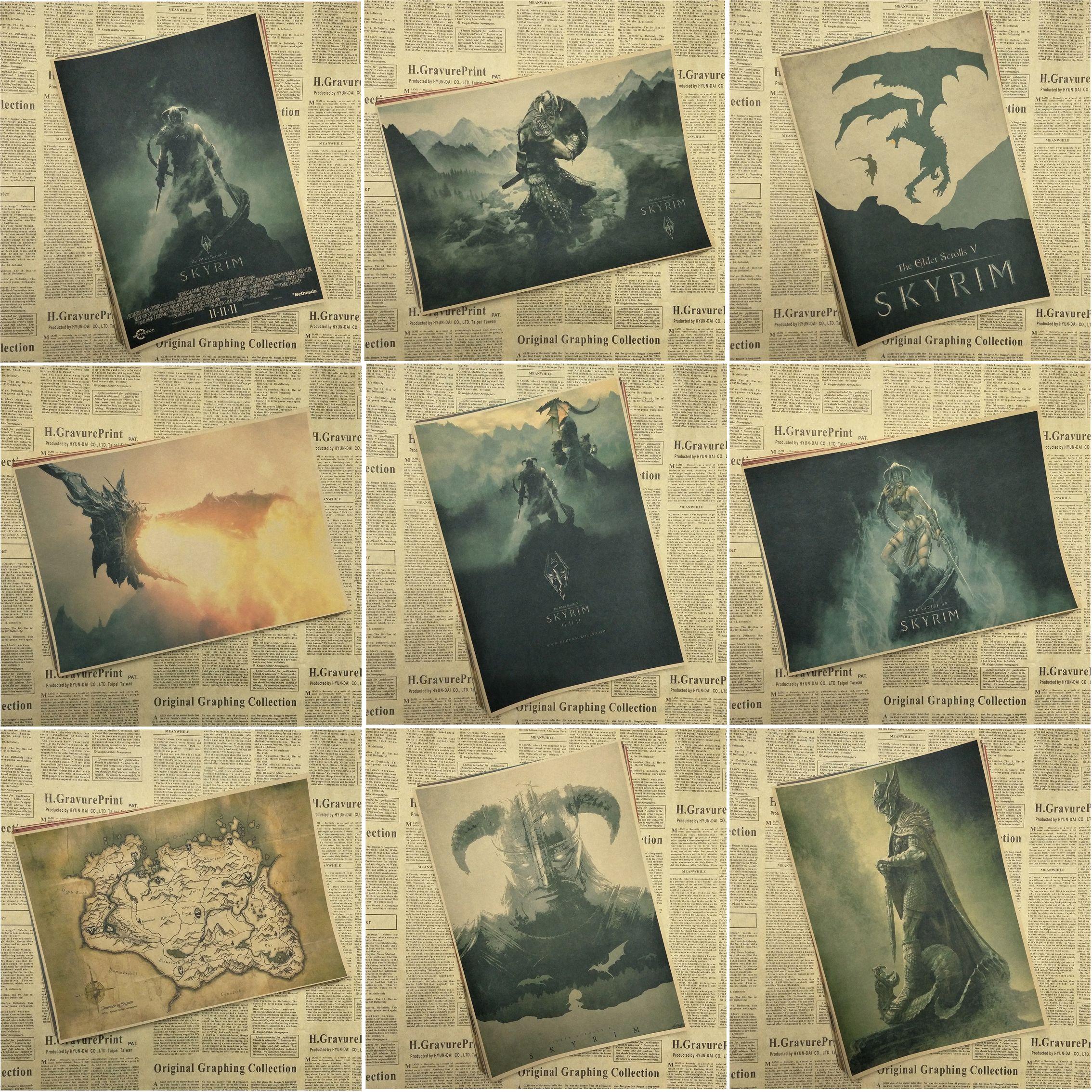 The Elder Scrolls V Skyrim Game retro Poster Retro Kraft Paper Bar ...