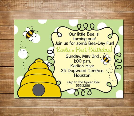First Birthday Invitation Bumble Bee Party By Chevronprintables 1099