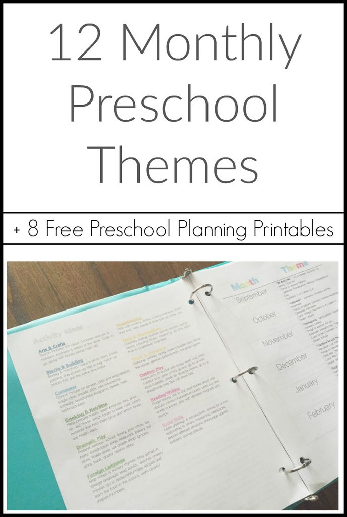 12 monthly preschool themes with 8 free printables for your preschool binder - Free Printable Preschool Activities