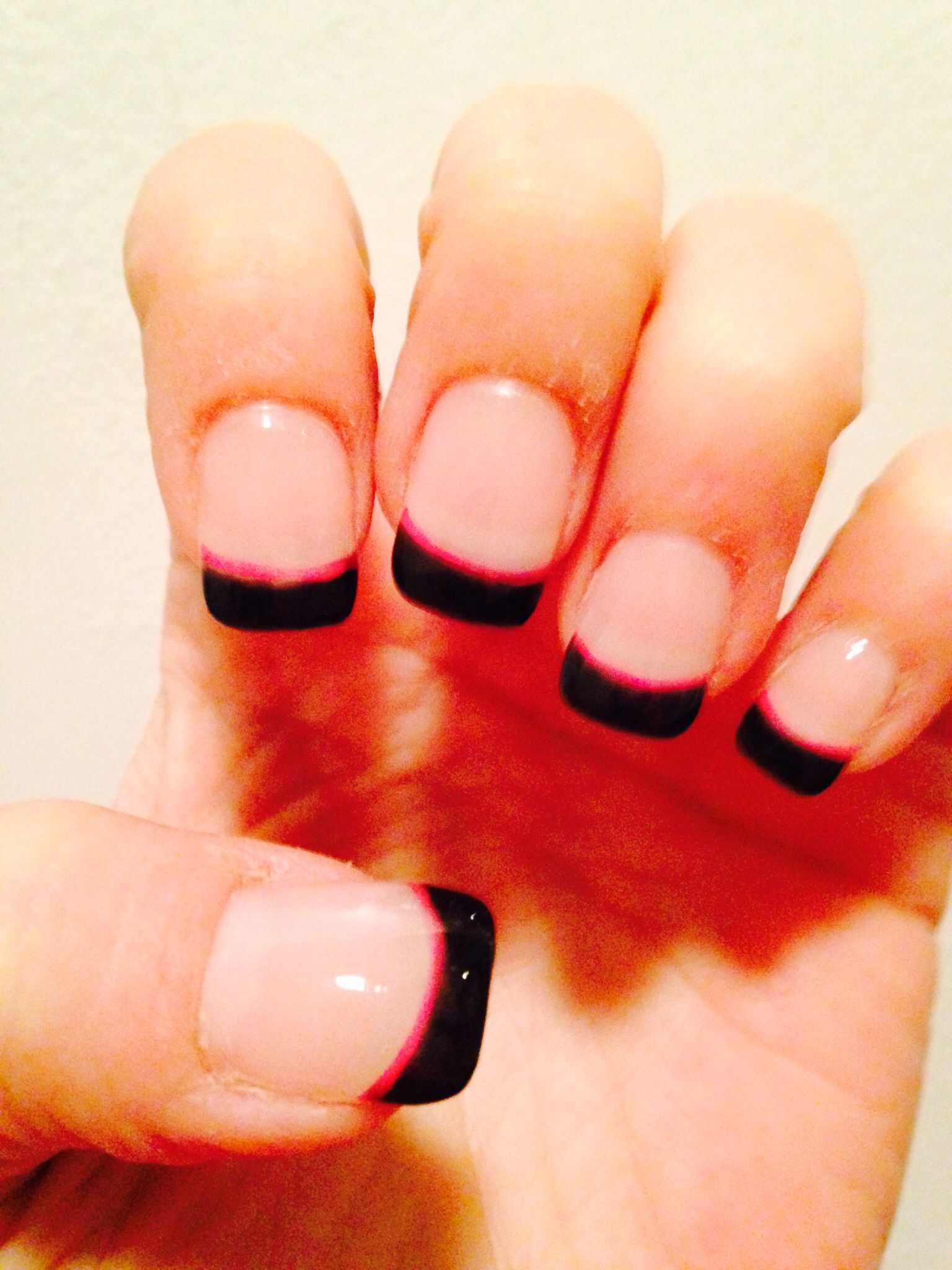 French manicure with black tips and pink accent line | Nails I like ...