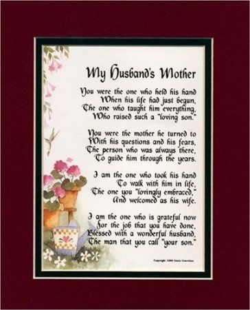 A Gift For A Mother-in-law. Touching 8x10 Poem Double-matted in Burgundy/Dark Green And Enhanced With Watercolor Graphics. A Gift For A Mother-in-law.