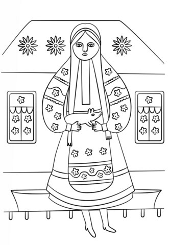 Ukrainian Woman From Maria Prymachenko Painting Coloring Page From Ukraine Category Selec Coloring Pages Free Printable Coloring Pages Free Printable Coloring