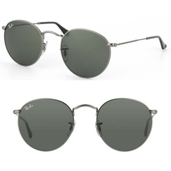 aee6e01a2835 Ray-Ban Dark Grey Round Metal Sunglasses ( 110) ❤ liked on Polyvore  featuring accessories