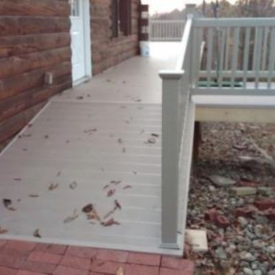 Archadeck can design and build ramps to provide access to decks and porches.  This ramp near Pittsburgh was built to provide access for a wheel chair