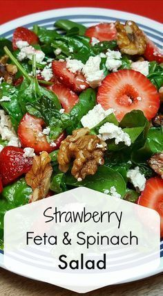 Photo of Strawberry Feta Spinach Salad MADE FOR EASTER. DIDN'T BUY WALNUTS. COULDN'T BE E…