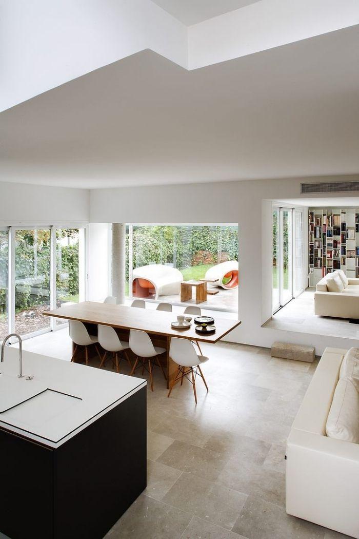 offene raumgestaltung -moderne kochinsel mit integriertes - moderne offene wohnzimmer