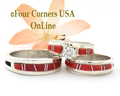Navajo Coral Inlay Engagement Bridal Wedding Ring Sets Four Corners USA OnLine Native American Jewelry