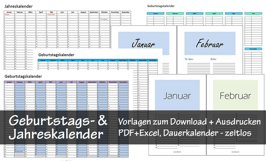 Kostenlose Geburtstagskalender zum Ausdrucken (PDF/Excel ...