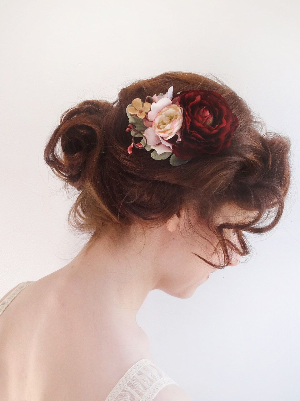 burgundy hair flower, bridal hair clip, burgundy flower hair clip