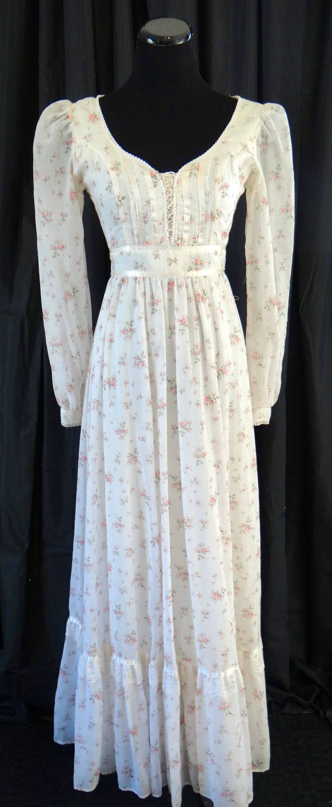 Very close to what my grandmother made for me for a dance in 1982. Gunne Sax prairie dress 70's