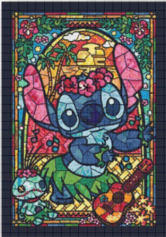 STITCH Disney Stained Glass 451 Modern Cross Stitch Pattern Counted Cross Stitch Chart Needlecraft Pdf Format Instant Download