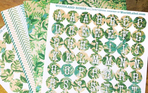 Free woodland rose printable round labels and pattern design by ma ma ellison holden