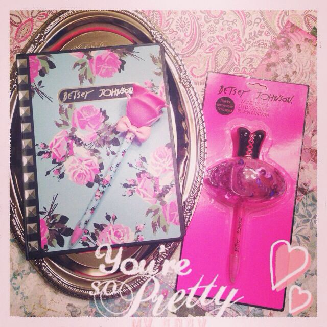 Betsey johnson journal and pens from michaels arts for Find michaels arts and crafts