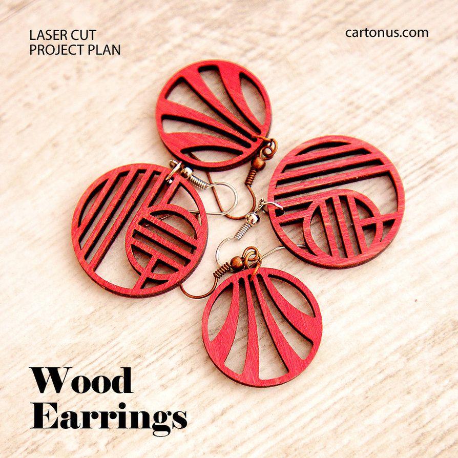 Wood artdeco earrings vector pattern. Free download