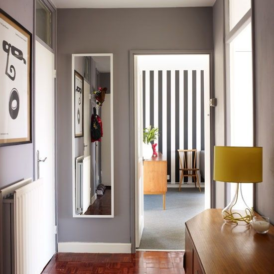 hallway paint ideas grey, 1970s inspired flat Hallway decorating, Grey hallway