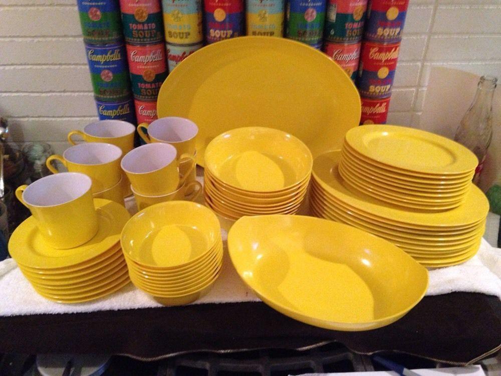 56 Pcs Svc For 8+ Vtg Oneida Deluxe Yellow Melmac Melamine Dinnerware Dishes