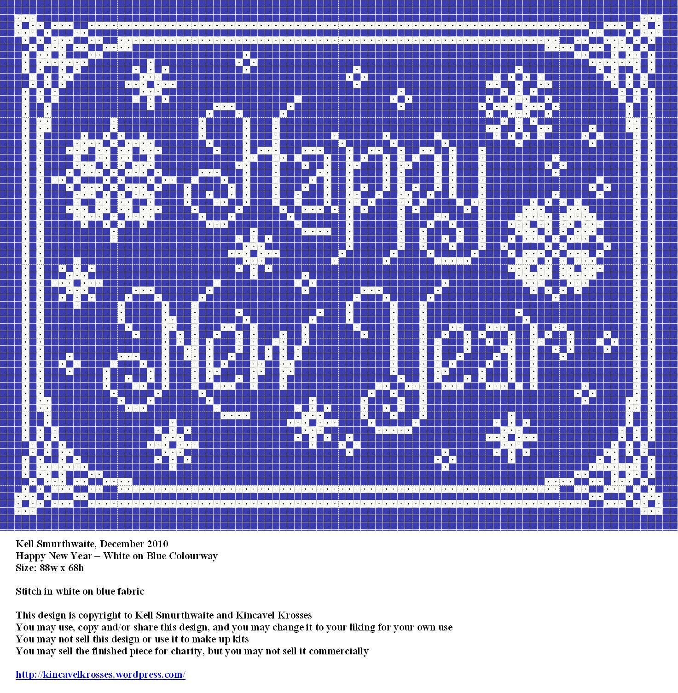 Happy New Year  Free Cross Stitch Pattern #Crafts #Diy