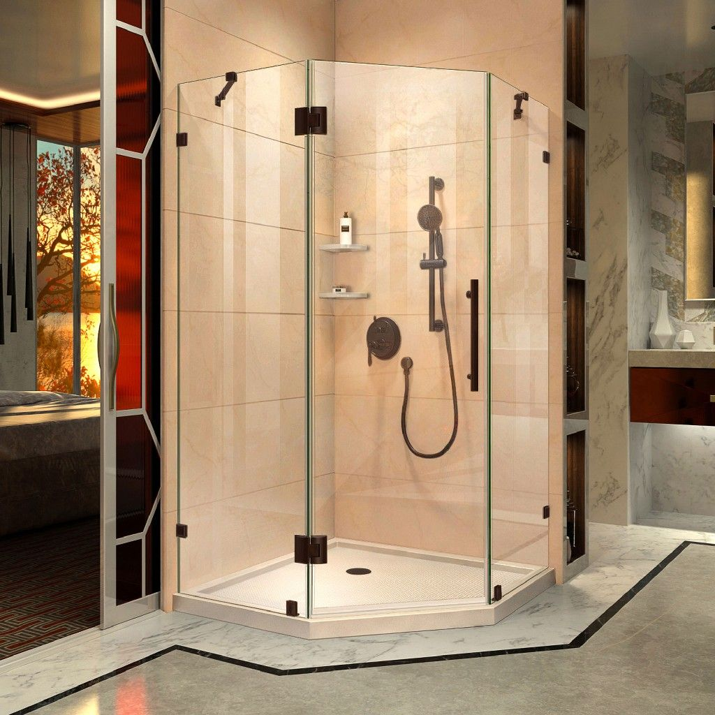 Dreamline Prism Lux 36 D X 36 W X 74 3 4 H Hinged Shower Enclosure In Oil Rubbed Bro In 2020 Neo Angle Shower Enclosures Corner Shower Kits Frameless Shower Enclosures