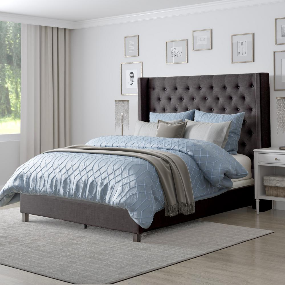 Corliving Fairfield Dark Grey Tufted Fabric Queen Bed With Wings In 2020 Rug Under Bed Upholstered Panel Bed Upholstered Beds