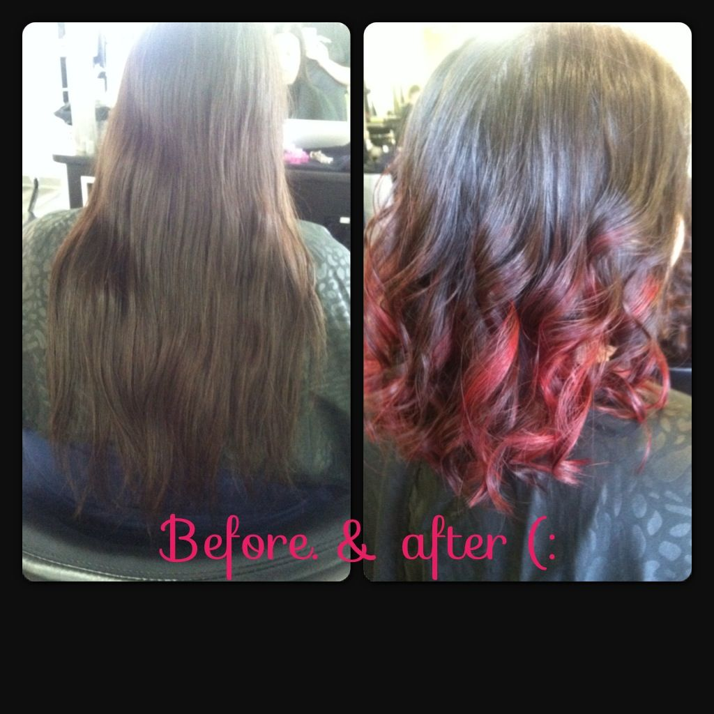Red ombre short hair before an after i need to cut my hair