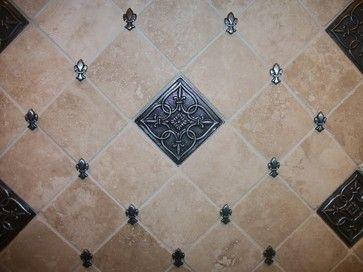 Backsplash Using Stone Tiles Medallion Fleur De Lis Accents