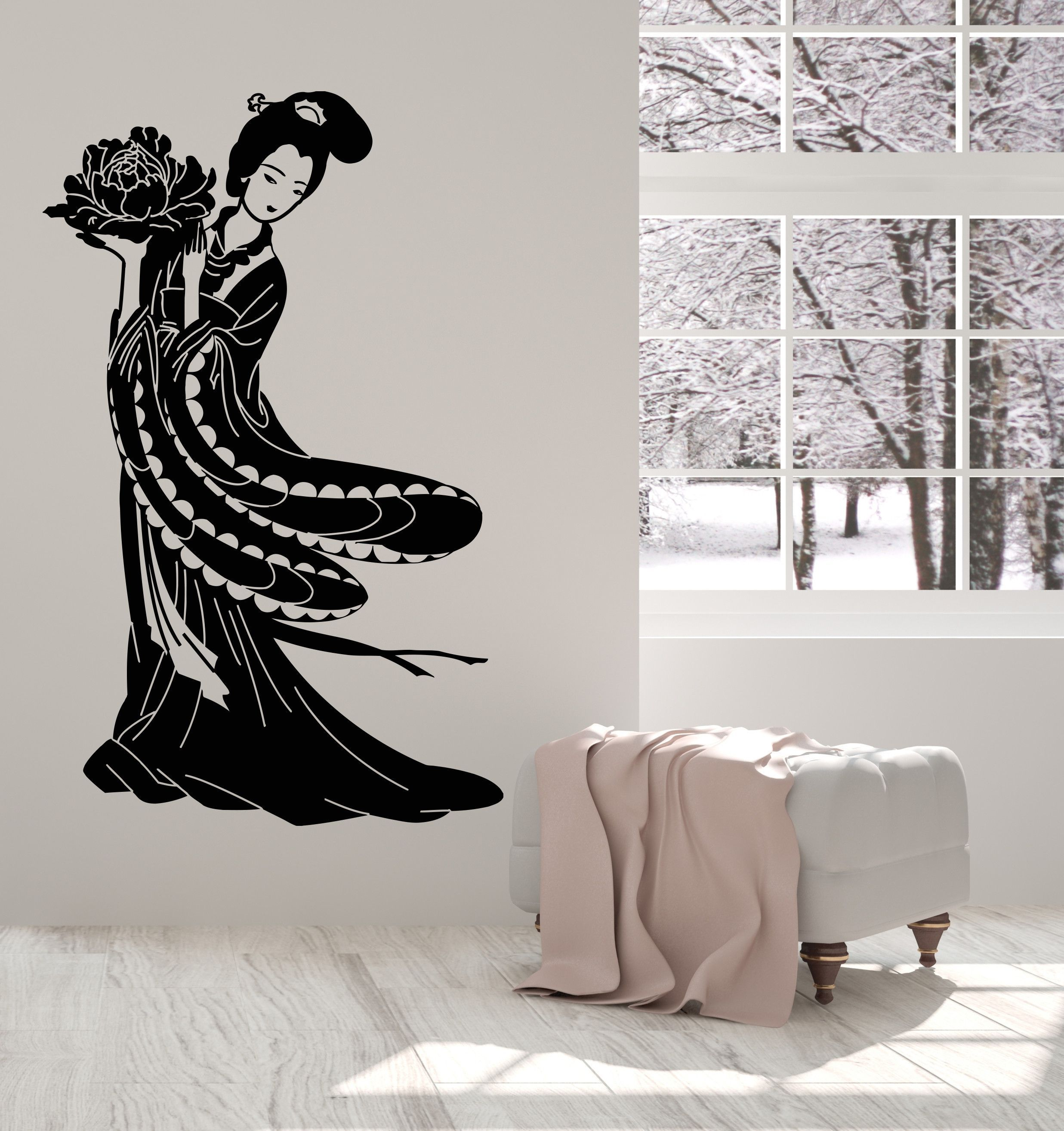 Vinyl Wall Decal Geisha Beautiful Japanese Girl Art Asian Style - Vinyl wall decals asian