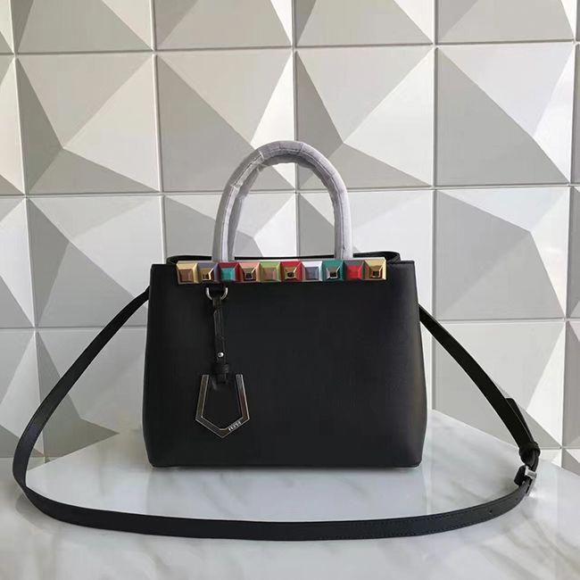 99bc55442fcc Fendi petite 2jours tote studded bag 2017 black  Designerhandbags ...