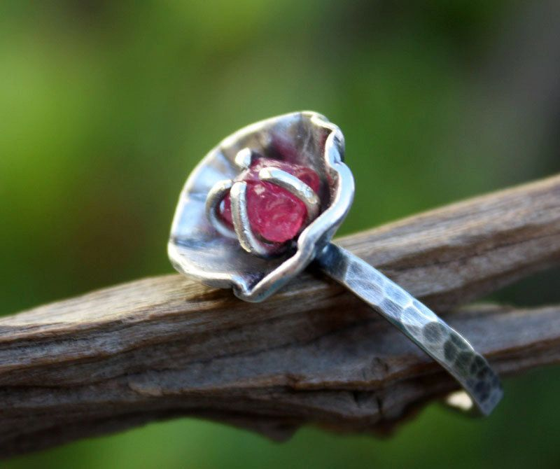 Rough ruby gemstone ring,sterling silver,raw uncut gemstone,handmade,flower ring,made to order. by aifosjewels on Etsy