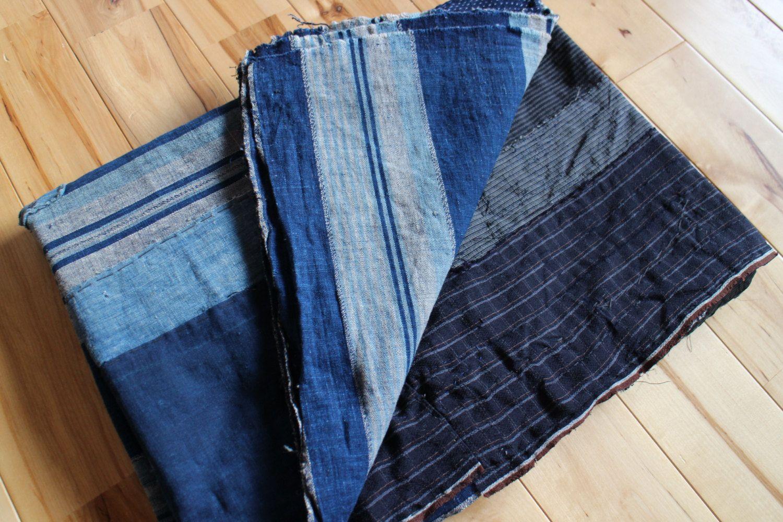 Japanese Boro Futon Cover Made Of Handwoven Shima Striped Indigo Dyed Cotton Kasuri Fabric Boro Patched Folk Textile For Futon Covers Boro Hanging Wall Art