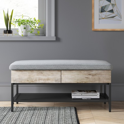 Enjoyable Loring Storage Bench Vintage Oak Project 62 Vintage Cjindustries Chair Design For Home Cjindustriesco
