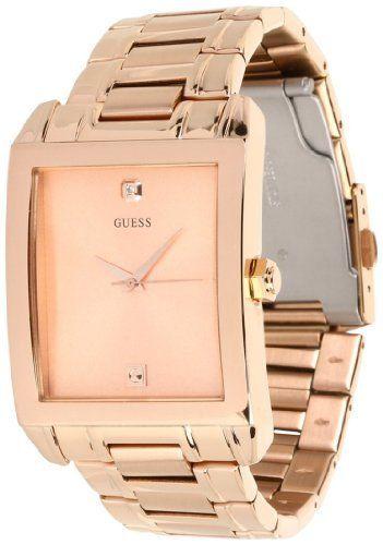 GUESS U0102G2 Rectangular Diamond Watch GUESS 9400 Womens