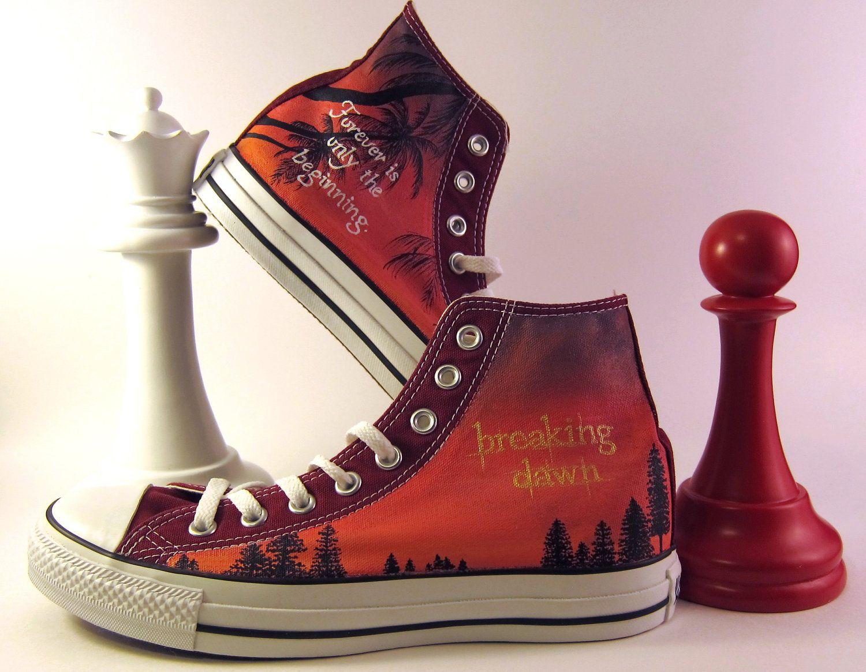0228b1183192fa Custom Hand-Painted Twilight Breaking Dawn Converse All Star Hi-Tops.   95.00