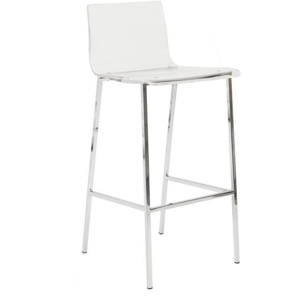 Euro Style Chloe-b Clear/ Chrome Bar Stools (900 CAD) ❤ liked on Polyvore featuring home, furniture, stools, barstools, clear, contemporary counter height bar stools, modern contemporary furniture, bar height stools, contemporary bar stools and chrome bar stools