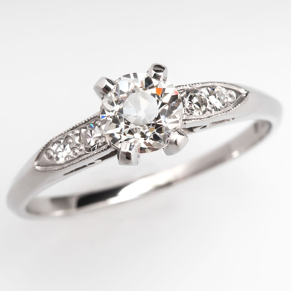 Antique us old euro diamond engagement ring platinum jewelry