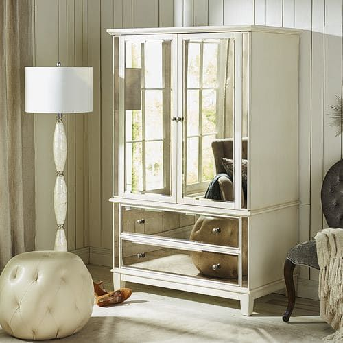 hayworth mirrored antique white armoire  mirrored bedroom