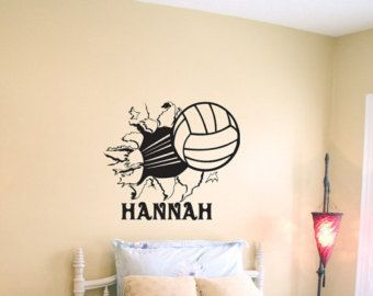 volleyball bursting through wall vinyl wall decal sticker art. beautiful ideas. Home Design Ideas