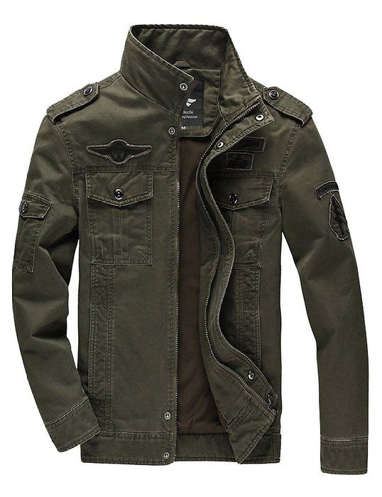 WenVen Men's Fashion Cotton Jackets (Military Green 1,US